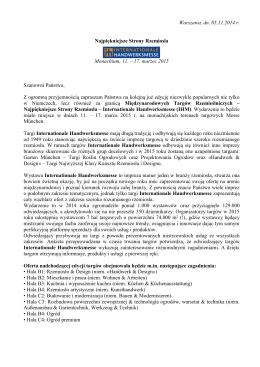 Warszawa, dn. 05.11.2014 r. Najpiękniejsze Strony Rzemiosła