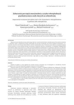 Zaburzenia percepcji emocjonalnej a ryzyko rehospitalizacji