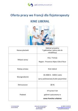 Oferta pracy we Francji dla fizjoterapeuty KINE