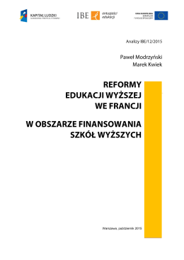 finansowanie edukacji wyższej - Raporty i rekomendacje IBE