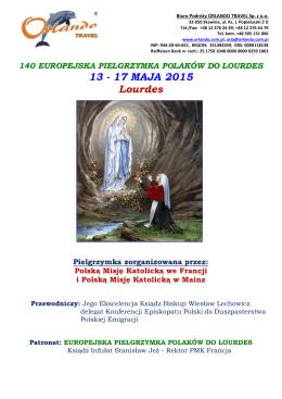 Pielgrzymka do Lourdes 13-17 maja 2015 * pobranie programu