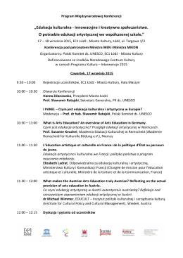 Agenda Konferencji - Polski Komitet ds Unesco