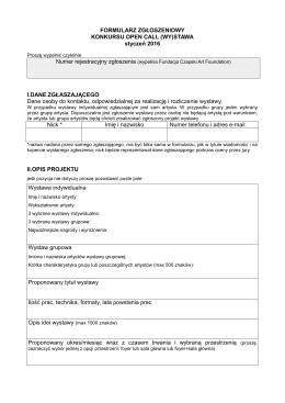 Formularz zgłoszeniowy Open Call (WY)stawa