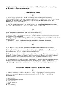 Regulamin - Motor-Presse Polska Sp. z oo