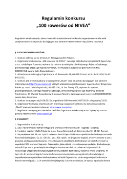 "Regulamin konkursu ""100 rowerów od NIVEA"""