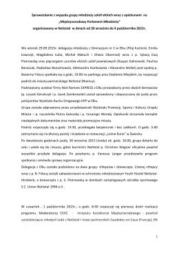 Sprawozdanie z wyjazdu grupy młodzieży szkół ełckich wraz z