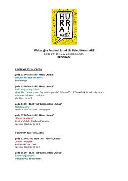 I Wakacyjny Festiwal Sztuki dla Dzieci Hurra! ART - PiK