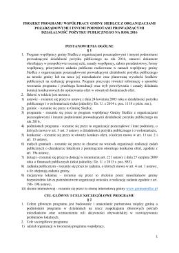 projekt programu współpracy gminy siedlce z organizacjami