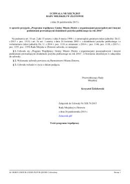 Programu współpracy Gminy Miasto Złotów z organizacjami