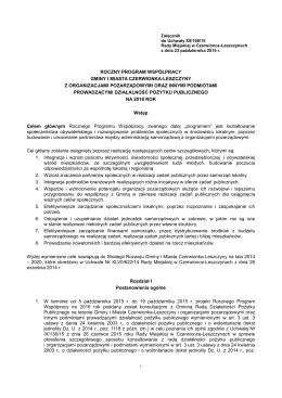 Roczny Program Współpracy Gminy i Miasta Czerwionka