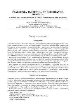 fragmenta floristica et geobotanica polonica