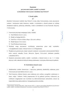 Regulamin przyznawania tytułów, medali i wyróżnień na Katolickim