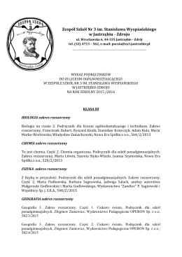 Podreczniki LO III 2015-16 - Aktualności Zespół Szkół nr 3 im