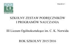Podręczniki obowiązujące w roku szkolnym 2015/2016