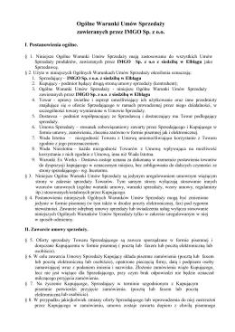 Ogólne Warunki Umów Sprzedaży zawieranych przez IMGO Sp. z o.o.