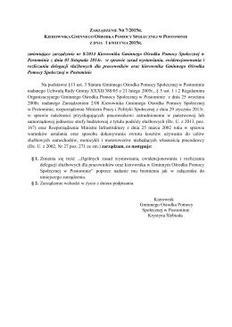 Zarządzenie Nr 7/2015 Kierownika Gminnego Ośrodka Pomocy