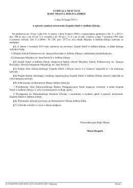 w sprawie zamiaru utworzenia Zespołu Szkół w Jedlinie