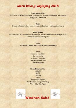 Menu kolacji wigilijnej 2015 Wesołych Świąt