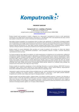 Komputronik S.A. - Prospekt emisyjny akcji serii E