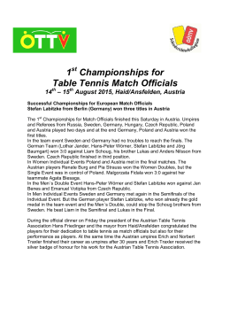 1 Championships for Table Tennis Match Officials