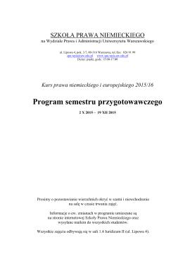 Program semestru przygotowawczego