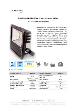 Projektor LED PRO 50W, czarny, 4500lm, 4000K