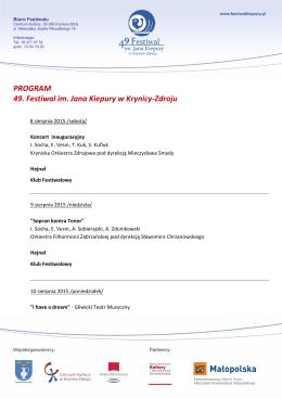 PROGRAM 49. Festiwal im. Jana Kiepury w Krynicy