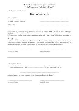 Wniosek o przyjęcie do grona członków Koła