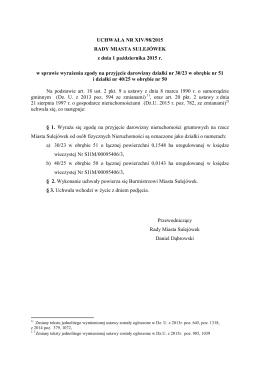 XIV/98/2015 w sprawie wyrażenia zgody na przyjęcie darowizny