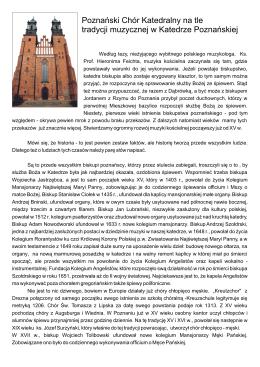 Poznański Chór Katedralny na tle tradycji muzycznej w Katedrze