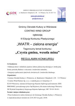 """""""WIATR – zielona energia"""" """"Czysta gmina, wesoła mina"""""""