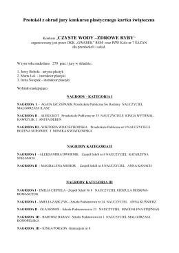 Protokół z obrad jury konkursu