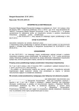 Intepretacja indywidualna do wniosku przesłanego 06 lipca 2015 r