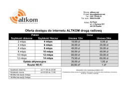 Oferta dostępu do internetu ALTKOM drogą radiową