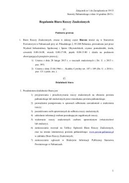 Regulamin Biura Rzeczy Znalezionych z 2015