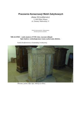 Pracownia Konserwacji Mebli Zabytkowych Anna Gryszkiewicz