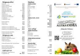 Cennik zabiegów - Gabinet Kosmetyczny ALEKSANDRA