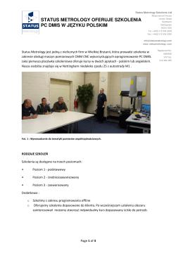 status metrology oferuje szkolenia pc dmis w języku polskim