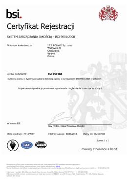Certyfikat Rejestracji - I.T.I. Poland sp. z o. o.