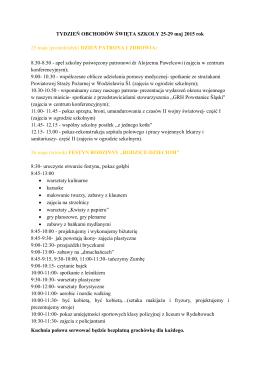 Tydzień Obchodów Święta Szkoły 25-29 maj 2015 rok