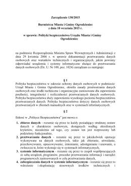 Zarządzenie 130/2015 Burmistrza Miasta i Gminy Ogrodzieniec z