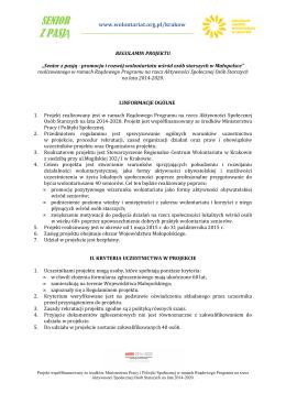Regulamin projektu SENIOR Z PASJĄ