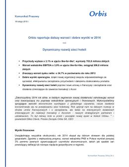 Orbis SA publikuje wyniki 2014 - Komunikat Prasowy _18_02_2015