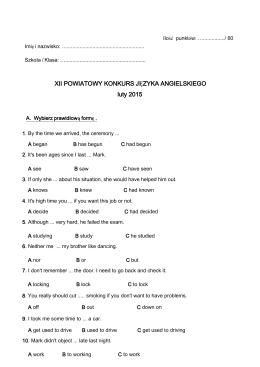XII POWIATOWY KONKURS JĘZYKA ANGIELSKIEGO luty 2015