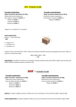 WYMIARY PACZEK Przesyłka standardowa Prz