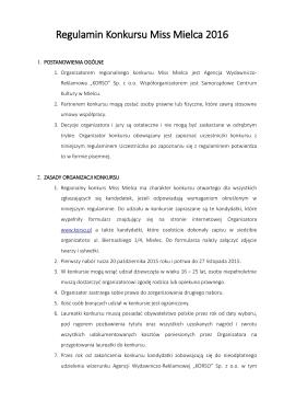 Regulamin Konkursu Miss Mielca 2016