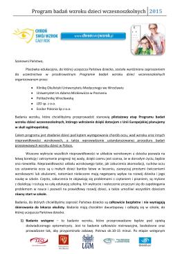 List informacyjny badania wzroku