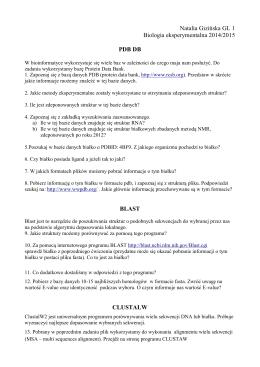 Natalia Gizińska GL 1 Biologia eksperymentalna 2014/2015 PDB