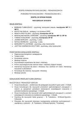Oferta Zespołu ds. Rodziny na rok szkolny 2015/2016