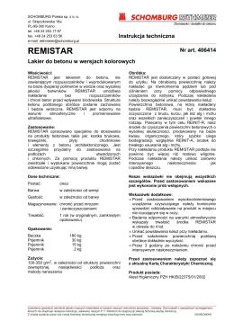 Lakier REMISTAR -karta techniczna